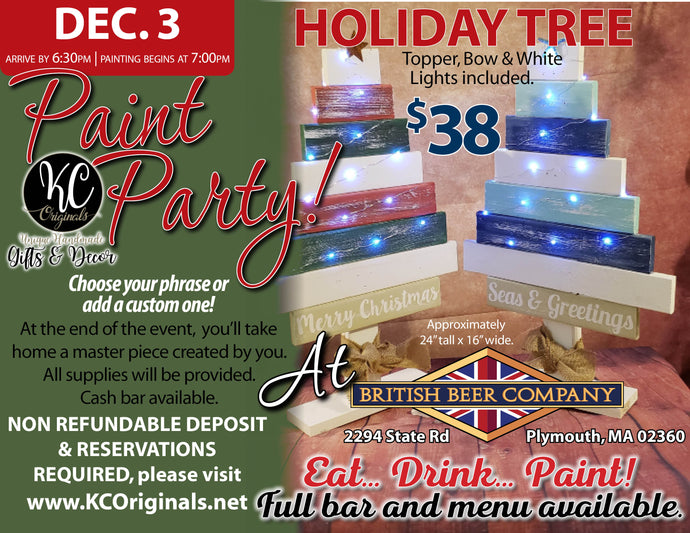 BBC Cedarville Tree Paint Party - DEPOSIT - $20 balance will be due night of party