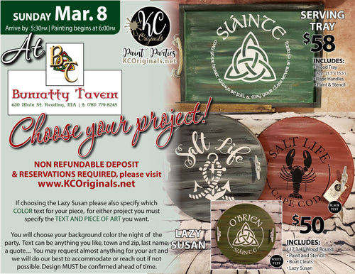 Bunratty Tavern Serving Tray/Lazy Susan Paint Party - DEPOSIT - Balance will be due night of party