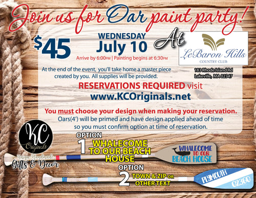 LeBaron Hills Oar Paint Party - DEPOSIT $20 balance will be due night of party