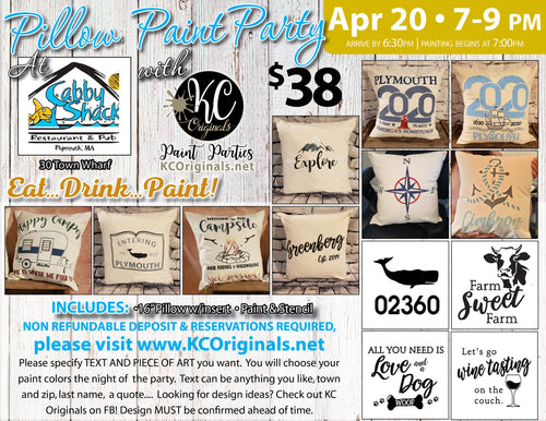 Cabby Shack Pillow Paint Party  - DEPOSIT - $20 balance will be due night of party