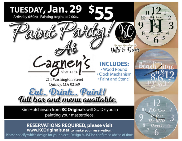 Cagney's Clock Paint Party - DEPOSIT - $30 balance will be due night of party