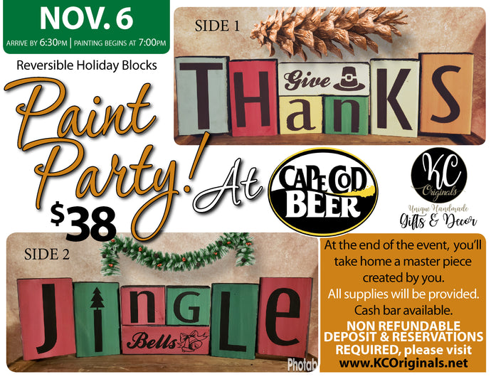 Cape Cod Beer Holiday Blocks Paint Party - DEPOSIT - $20 balance will be due night of party