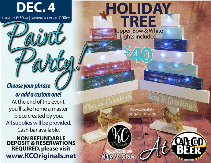 Cape Cod Beer Tree Paint Party - DEPOSIT - $20 balance will be due night of party