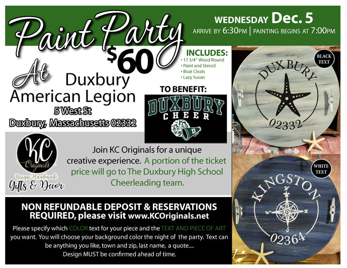 Duxbury High School Cheerleading Fundraiser - DEPOSIT for Lazy Susan Paint Party