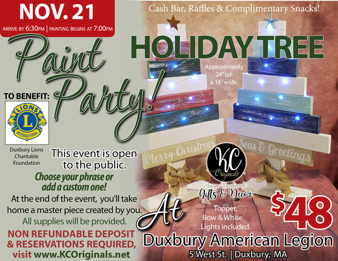 Duxbury Lions Club Fundraiser - DEPOSIT for Holiday Tree Paint Party