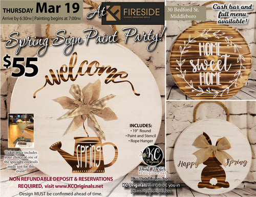 Fireside Classic American Grille - DEPOSIT for Spring Signs - $20 balance will be due night of the event