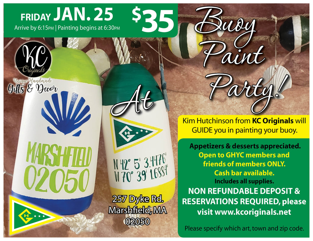 GHYC PRIVATE EVENT- DEPOSIT for Buoy Paint Party -$20 balance will be due night of party