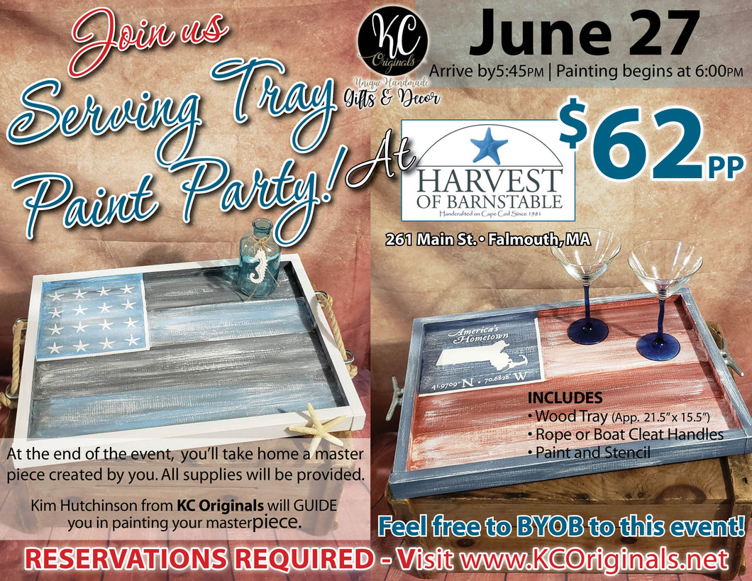 Harvest of Barnstable-Falmouth Serving Tray Paint Party - DEPOSIT - $30 balance will be due night of party
