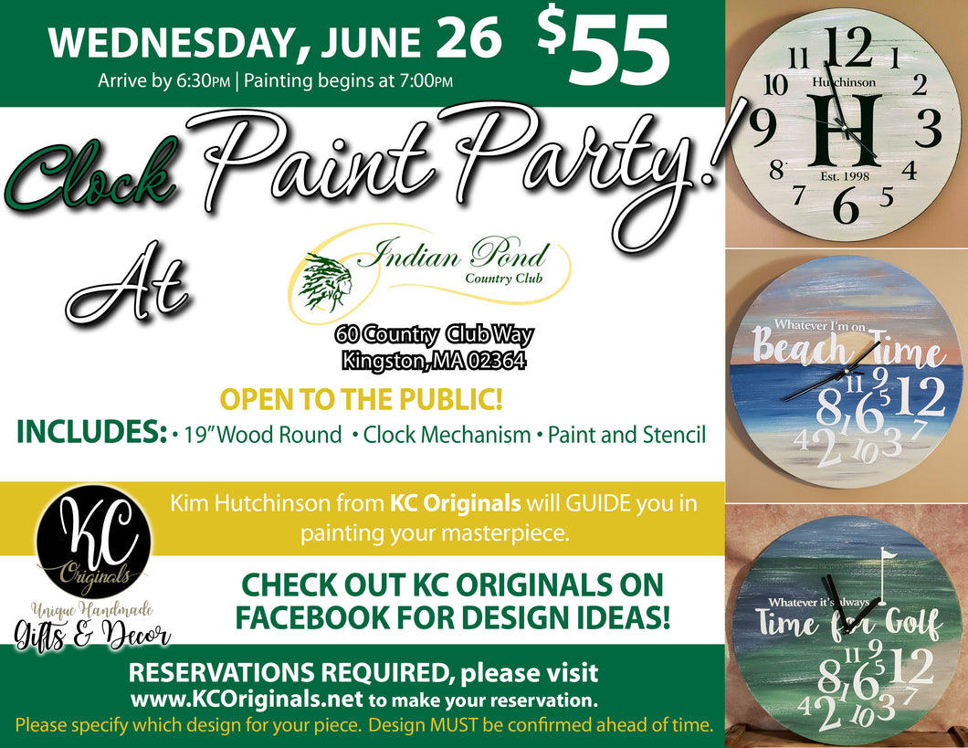 Indian Pond CC Clock Paint Party - DEPOSIT - $20 balance will be due night of party