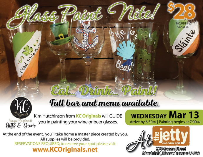 The Jetty Glass Paint Party - DEPOSIT - $10 balance will be due night of party