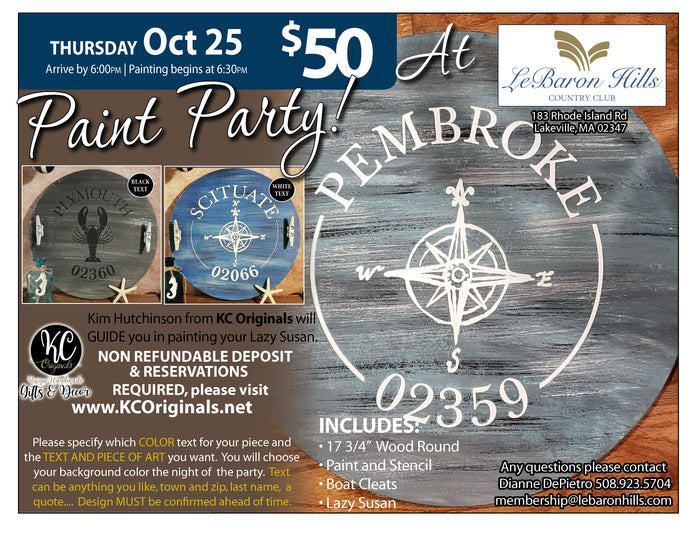 LeBaron CC Lazy Susan Paint Party  - DEPOSIT - $30 balance will be due night of party