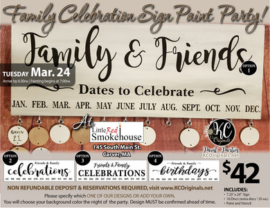 Little Red Smokehouse - Family Celebrations Sign Paint Party -DEPOSIT - $20 balance will be due night of party