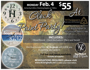 McSwiggans Clock Paint Party - DEPOSIT - $30 balance will be due night of party