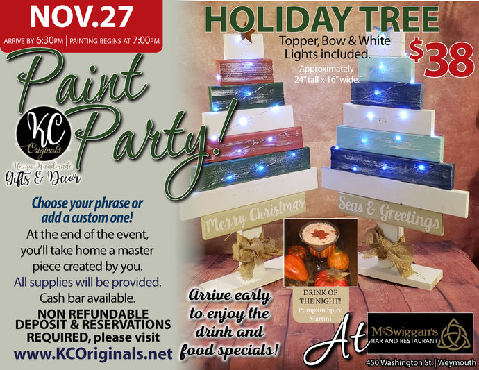 McSwiggans Tree Paint Party - DEPOSIT - $20 balance will be due night of party