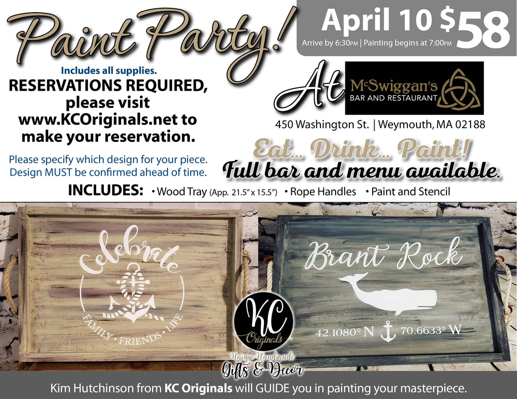McSwiggan's Serving Tray Paint Party - DEPOSIT - $30 balance will be due night of party