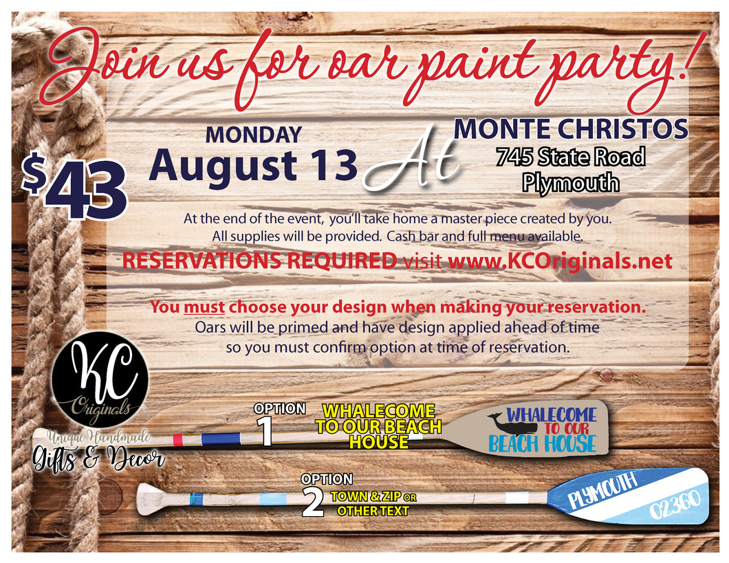 Monte Christos - DEPOSIT for Oar Paint Party
