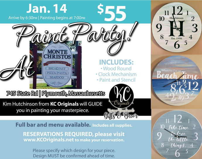 Monte Christos Clock Paint Party - DEPOSIT - $30 balance will be due night of party