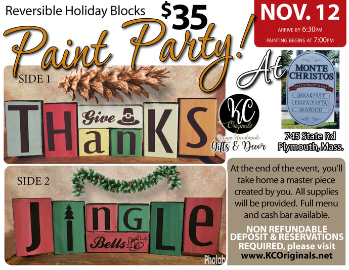 Monte Christos Holiday Blocks Paint Party - DEPOSIT - $20 balance will be due night of party