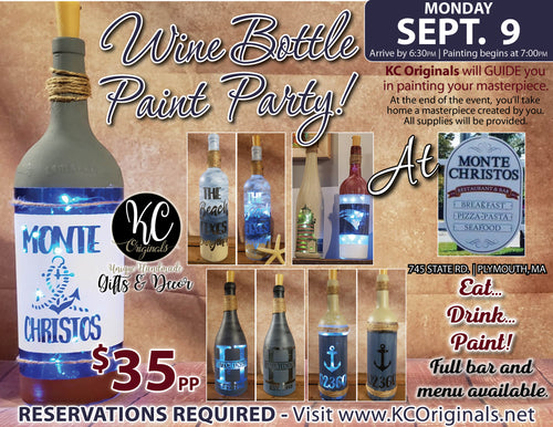 Monte Christos - DEPOSIT for Wine Bottle Paint Party - $15 balance will be due night of the event