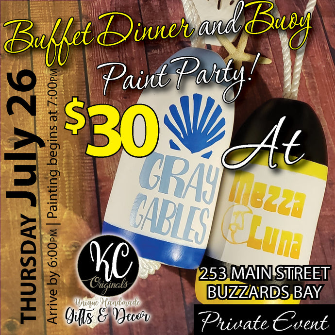 Mezza Luna - DEPOSIT for Buffet Dinner & Buoy Paint Party