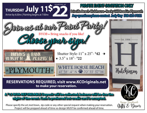 Priscilla Beach Assoc- DEPOSIT for Sign Paint Party