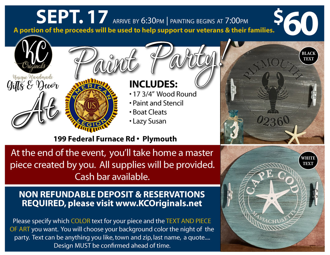Lazy Susan Paint Party - DEPOSIT - $35 balance will be due night of party