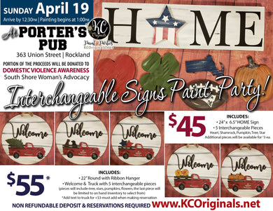 Porter's Pub Fundraiser - Sign Paint Party - DEPOSIT - Balance will be due night of party