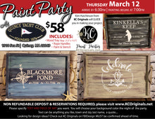 Quincy Yacht Club Serving Tray Paint Party- DEPOSIT - $20 balance will be due night of party