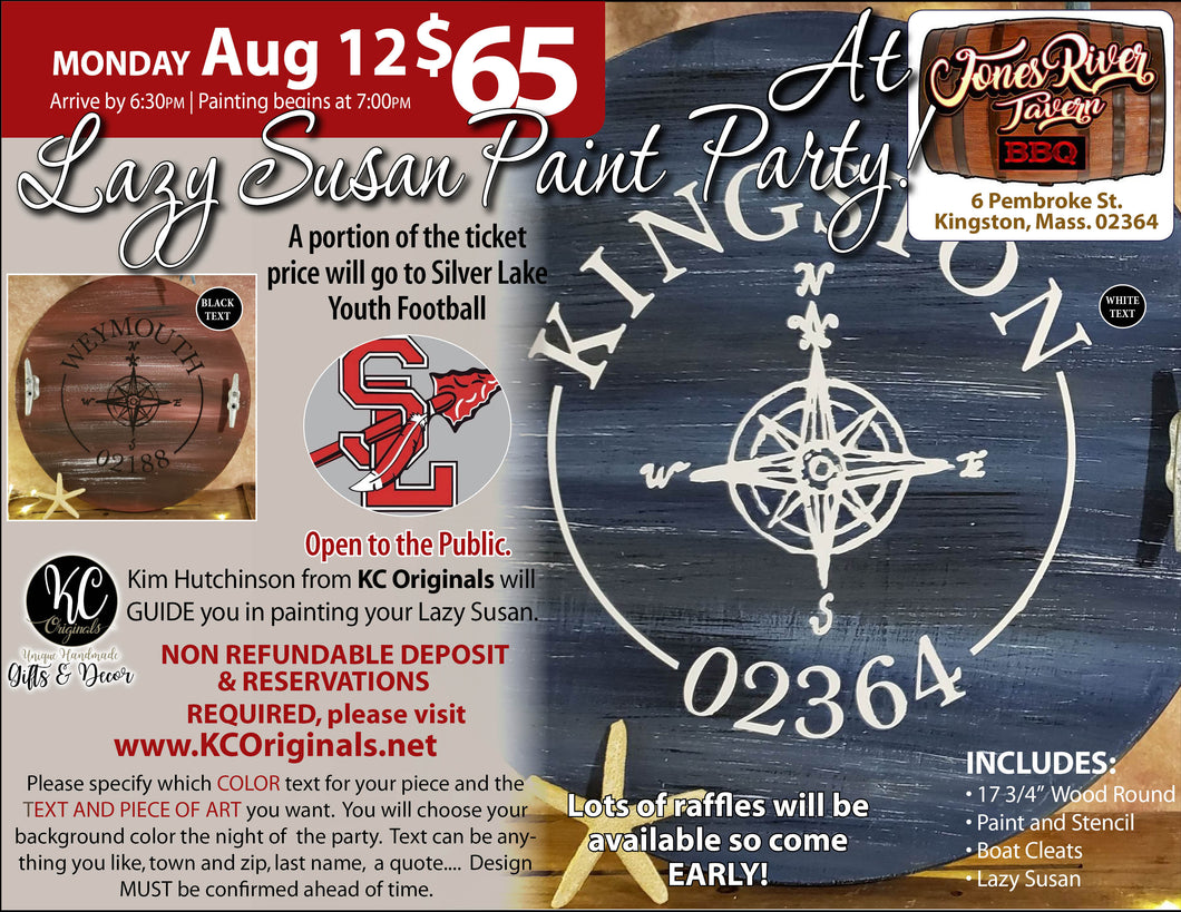 Silver Lake Youth Football - Lazy Susan Paint Party -DEPOSIT - $20 balance will be due night of party
