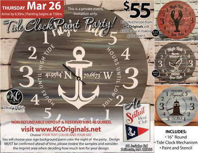 Satuit Boat Club Tide Clock Paint Party - DEPOSIT - $20 balance will be due night of party