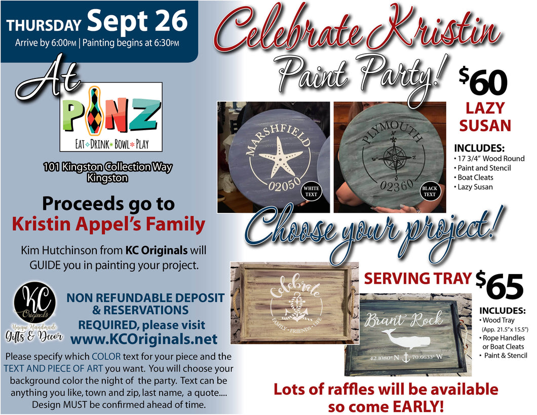 Kristin Appel Family Fundraiser Paint Party - DEPOSIT - Balance will be due night of party