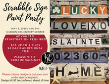Sharon Community Center Scrabble Tile Paint Party - DEPOSIT - Balance will be due night of party
