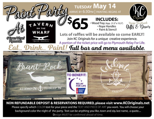 3b33e1a0669db4 Relay for Life Fundraiser Serving Tray Paint Party - DEPOSIT -  30 balance  will be due