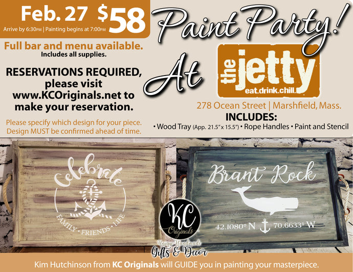 The Jetty Serving Tray Paint Party - DEPOSIT - $30 balance will be due night of party