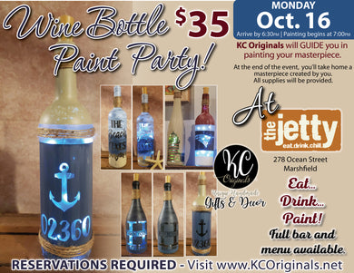 The Jetty - DEPOSIT for Wine Bottle Paint Party - $15 balance will be due night of the event