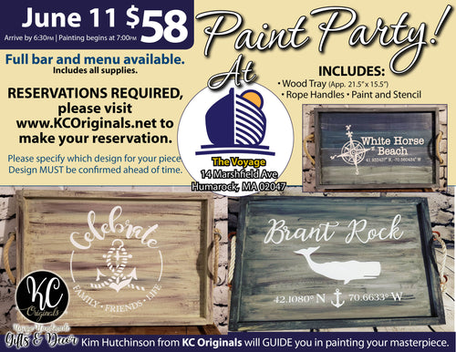 The Voyage Serving Tray Paint Party - DEPOSIT - $30 balance will be due night of party