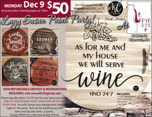 Uva Wine Bar - DEPOSIT for Lazy Susan Paint Party - $20 balance will be due night of the event