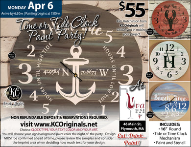 Uva Wine Bar Time or Tide Clock Paint Party - DEPOSIT - $20 balance will be due night of party