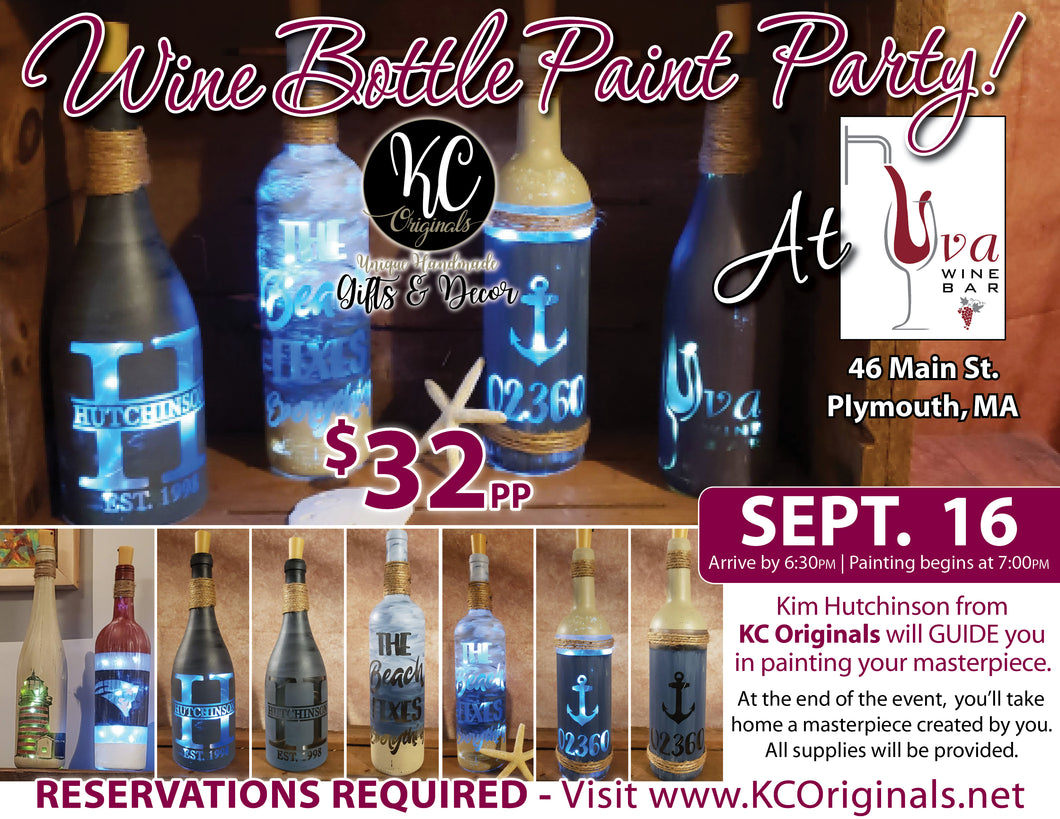 Uva Wine Bar - DEPOSIT for Wine Bottle Paint Party - $15 balance will be due night of the event