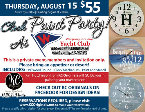 WLYC Clock Paint Party - DEPOSIT - $30 balance will be due night of party