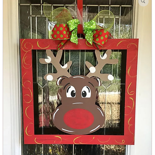 PAINTED - Rudolph Frame Sign