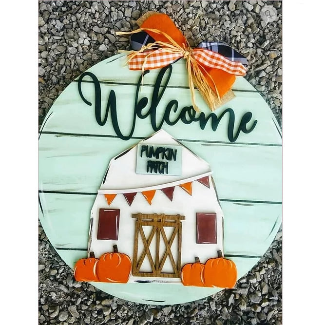 PAINTED - Fall Pumpkin Patch Barn Door Sign - PREORDER