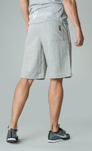 mens grey knee length shorts with elasticated waistband james lloyd