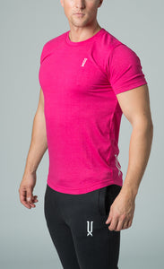 mens pink crew neck slim fit t-shirt james lloyd