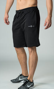 mens black knee length shorts with elasticated waistband james lloyd