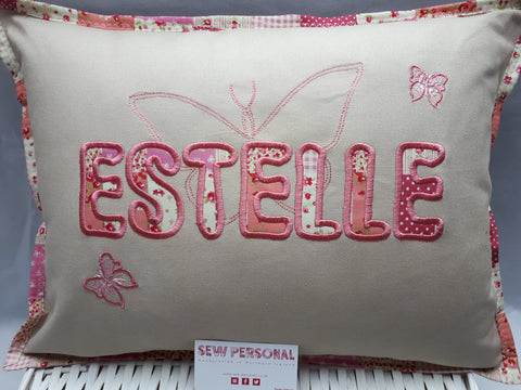 Personalised Cushion with Embroidered Butterflies