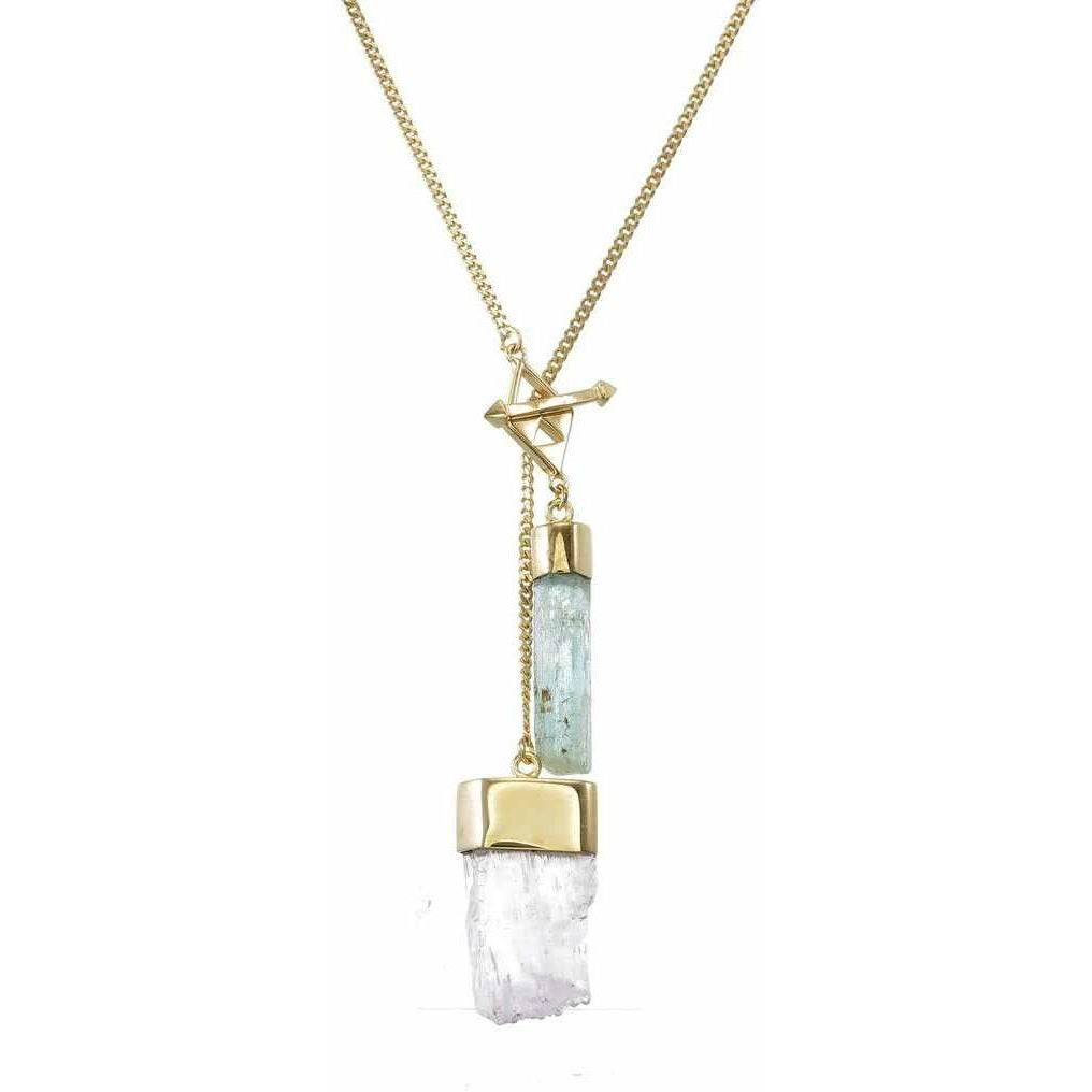 AQUAMARINE & KUNZITE CRYSTAL NECKLACE