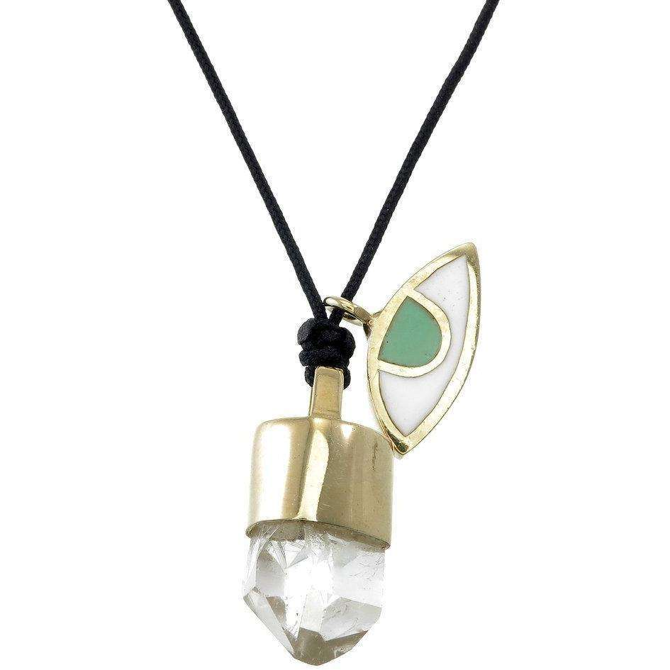 QUARTZ EYE AND CRYSTAL NECKLACE  - GOLD