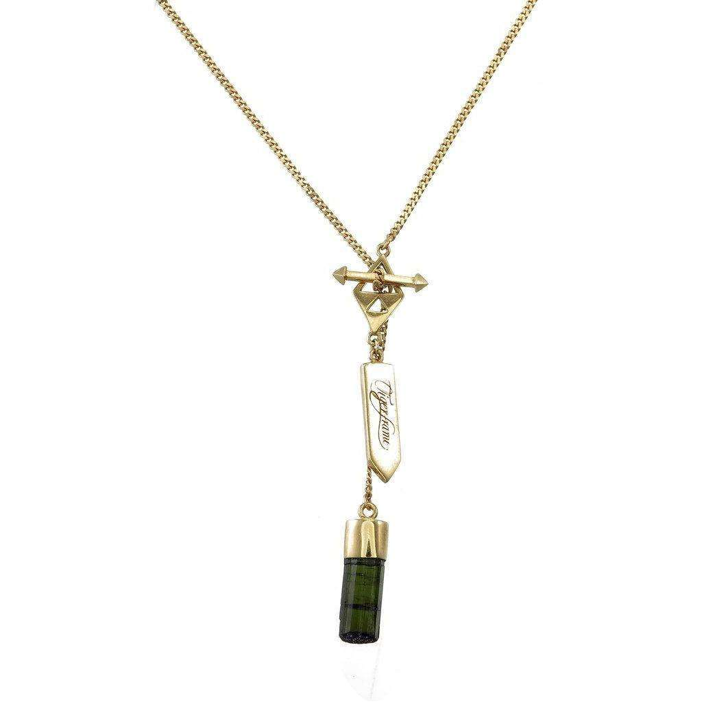 BLACK TOURMALINE CRYSTAL NECKLACE - GOLD