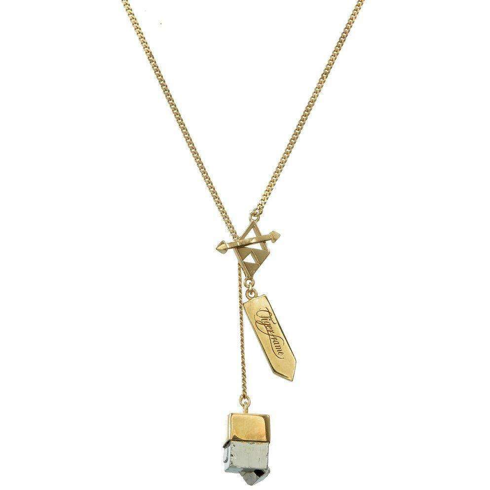 SMALL CRYSTAL NECKLACE - PYRITE CUBOID CRYSTAL